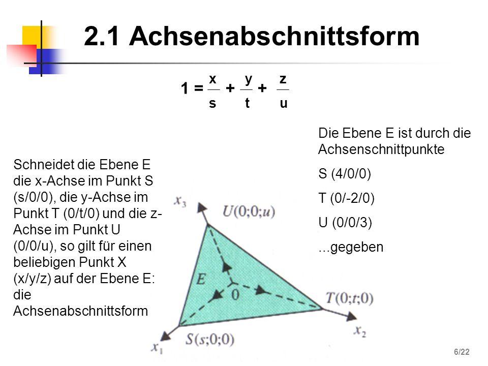 2.2 Normalenform 0 = n (x – a) 0 = n x – n a = n1n2n3n1n2n3 ° x - y - z - a1a2a3a1a2a3 0 Gegeben: - ein Punkt A der Ebene - ein Normalenvektor n der Ebene - X sei ein beliebiger Punkt der Ebene E n = A (-4/5/3) 123123 ° °° 7/22