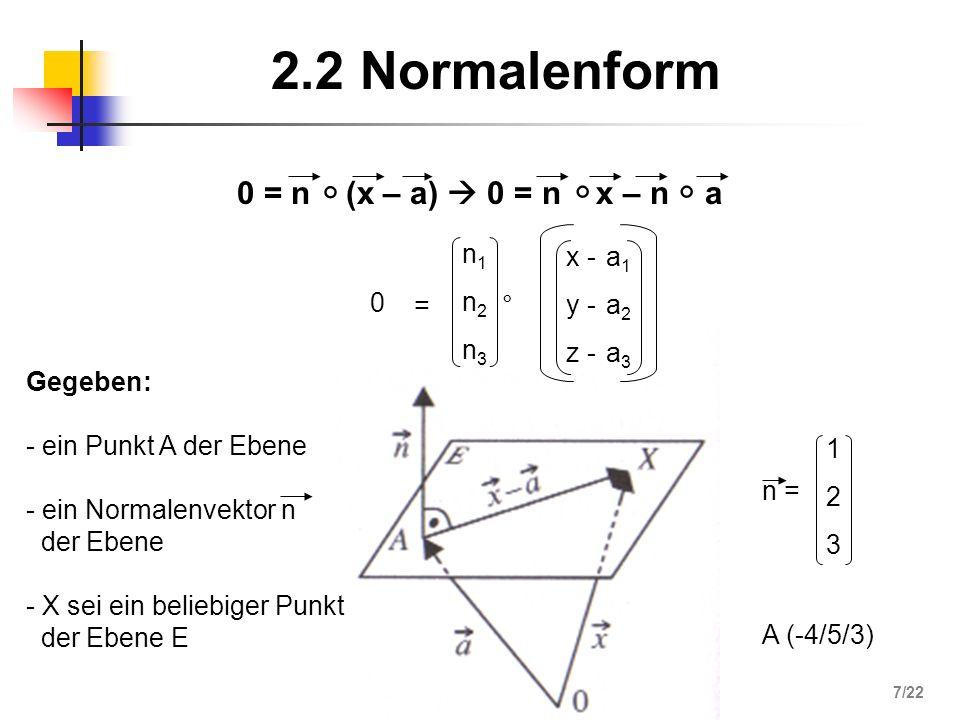 2.2 Normalenform 0 = n (x – a) 0 = n x – n a = n1n2n3n1n2n3 ° x - y - z - a1a2a3a1a2a3 0 Gegeben: - ein Punkt A der Ebene - ein Normalenvektor n der E