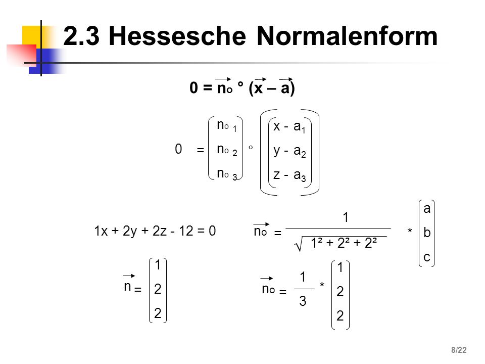 2.3 Hessesche Normalenform 0 = n o ° (x – a) = no 1no 2no 3no 1no 2no 3 ° x - y - z - a1a2a3a1a2a3 0 122122 n = * nono = 1 1² + 2² + 2² abcabc nono =
