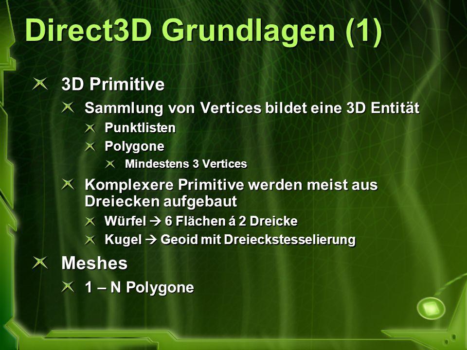 Direct3D Grundlagen (1) 3D Primitive Sammlung von Vertices bildet eine 3D Entität PunktlistenPolygone Mindestens 3 Vertices Komplexere Primitive werde