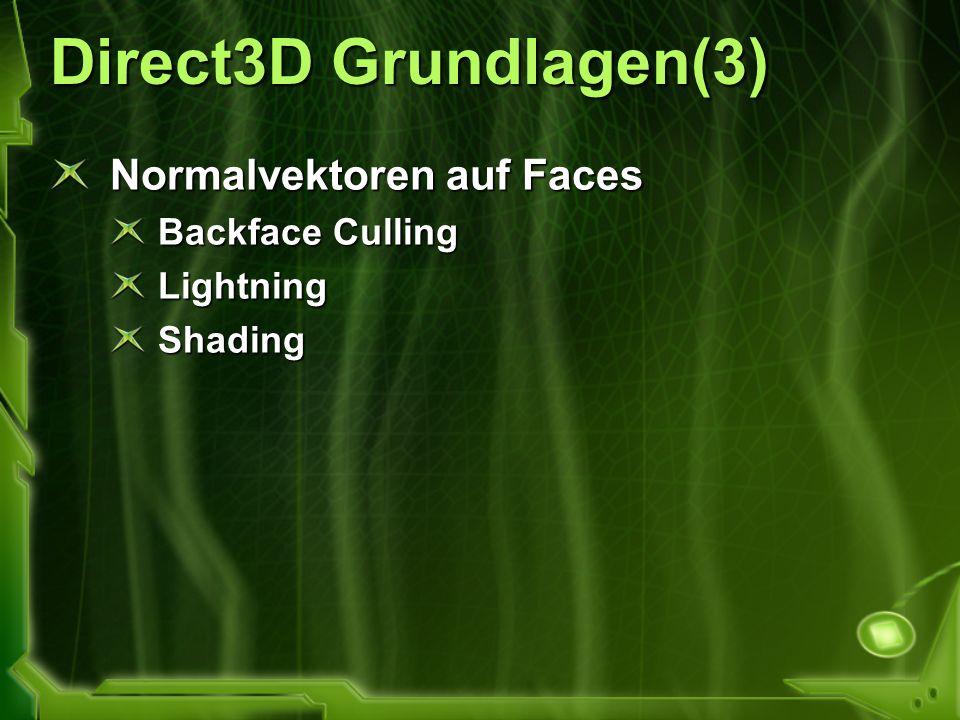 Direct3D Grundlagen(3) Normalvektoren auf Faces Backface Culling LightningShading