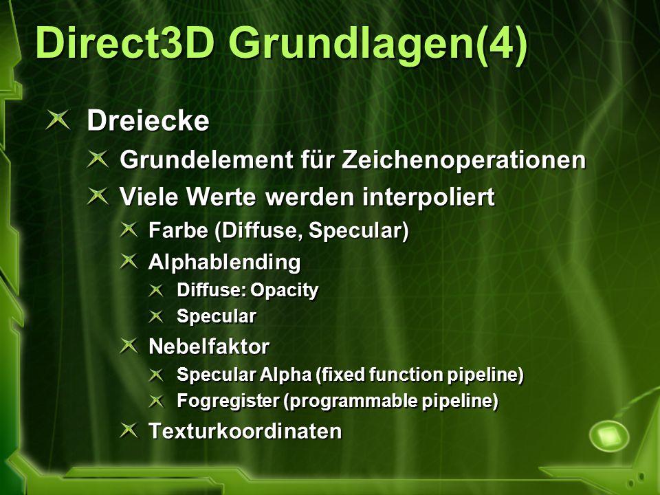 Direct3D Grundlagen(4) Dreiecke Grundelement für Zeichenoperationen Viele Werte werden interpoliert Farbe (Diffuse, Specular) Alphablending Diffuse: O