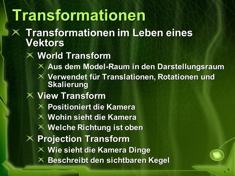 Transformationen Transformationen im Leben eines Vektors World Transform Aus dem Model-Raum in den Darstellungsraum Verwendet für Translationen, Rotat