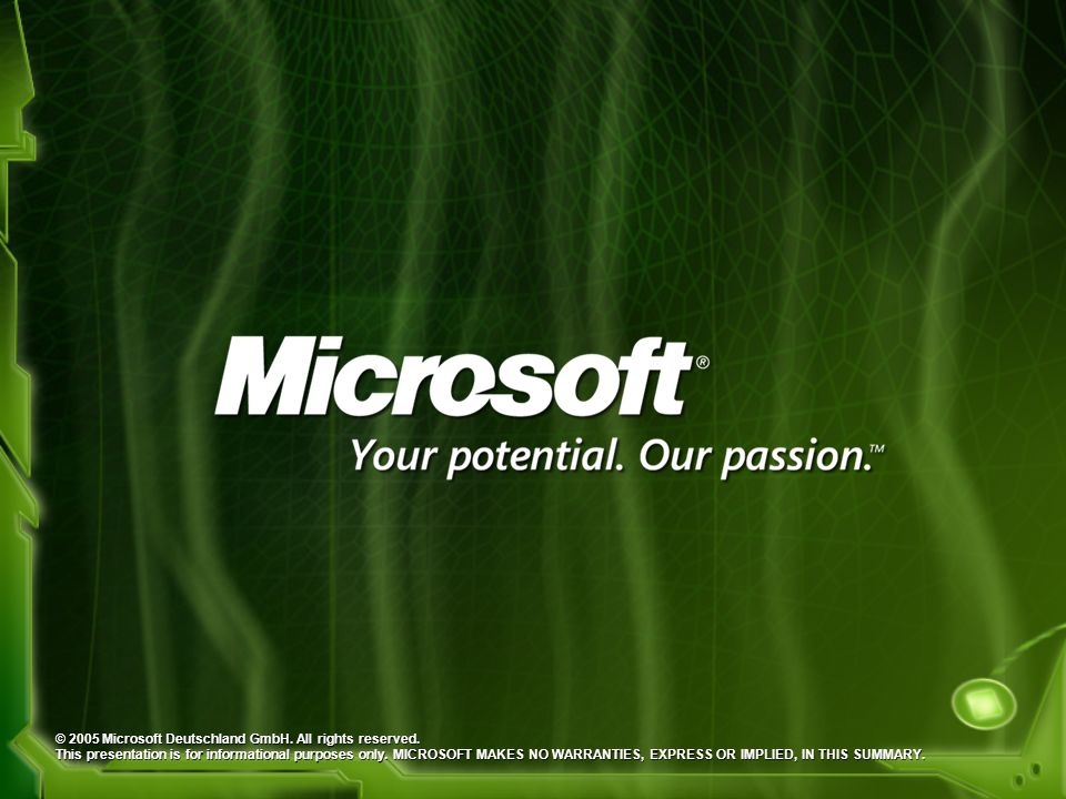 © 2005 Microsoft Deutschland GmbH. All rights reserved. This presentation is for informational purposes only. MICROSOFT MAKES NO WARRANTIES, EXPRESS O