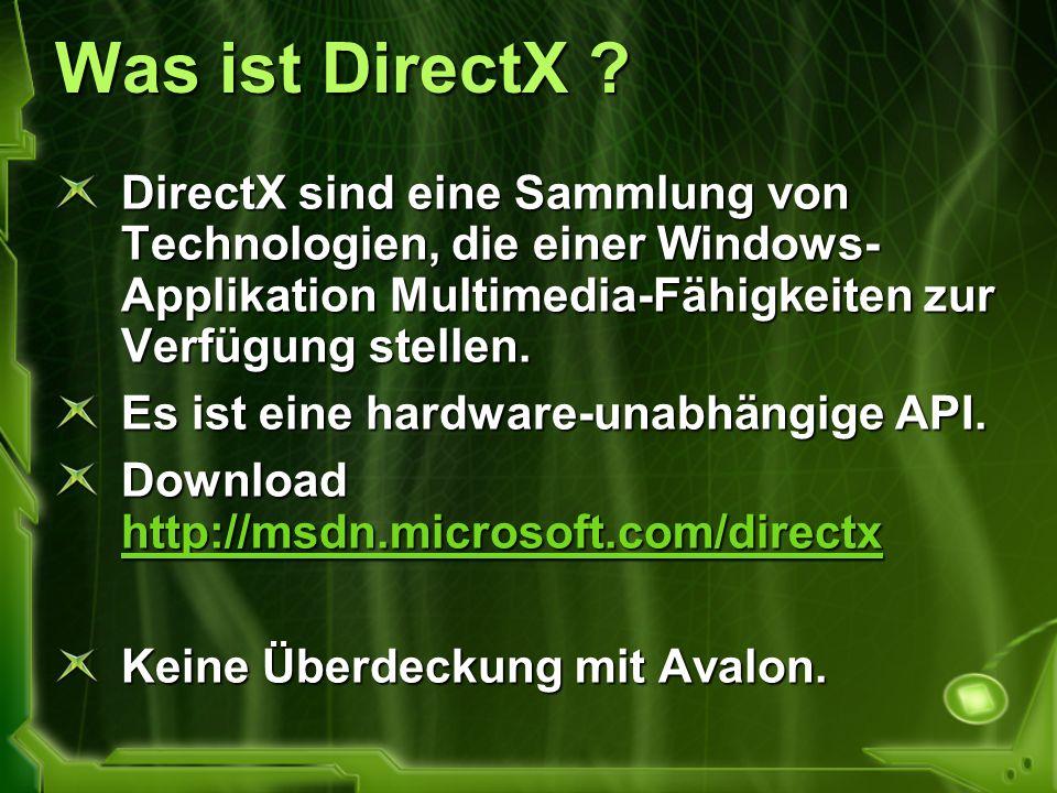 Was ist DirectX ? DirectX sind eine Sammlung von Technologien, die einer Windows- Applikation Multimedia-Fähigkeiten zur Verfügung stellen. Es ist ein