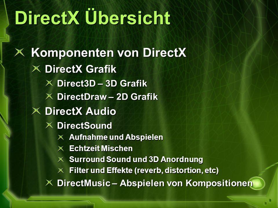 DirectX Übersicht Komponenten von DirectX DirectX Grafik Direct3D – 3D Grafik DirectDraw – 2D Grafik DirectX Audio DirectSound Aufnahme und Abspielen