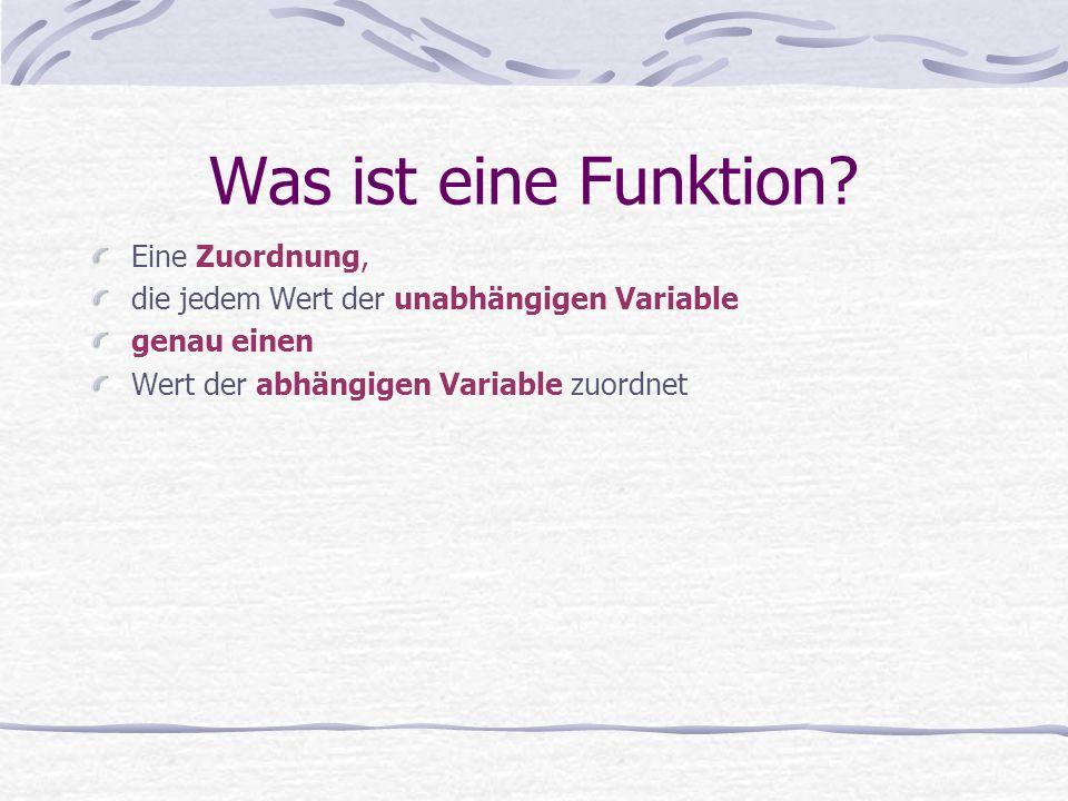 Was ist eine Funktion? Eine Zuordnung, die jedem Wert der unabhängigen Variable genau einen Wert der abhängigen Variable zuordnet