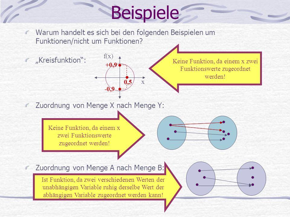 Warum handelt es sich bei den folgenden Beispielen um Funktionen/nicht um Funktionen.