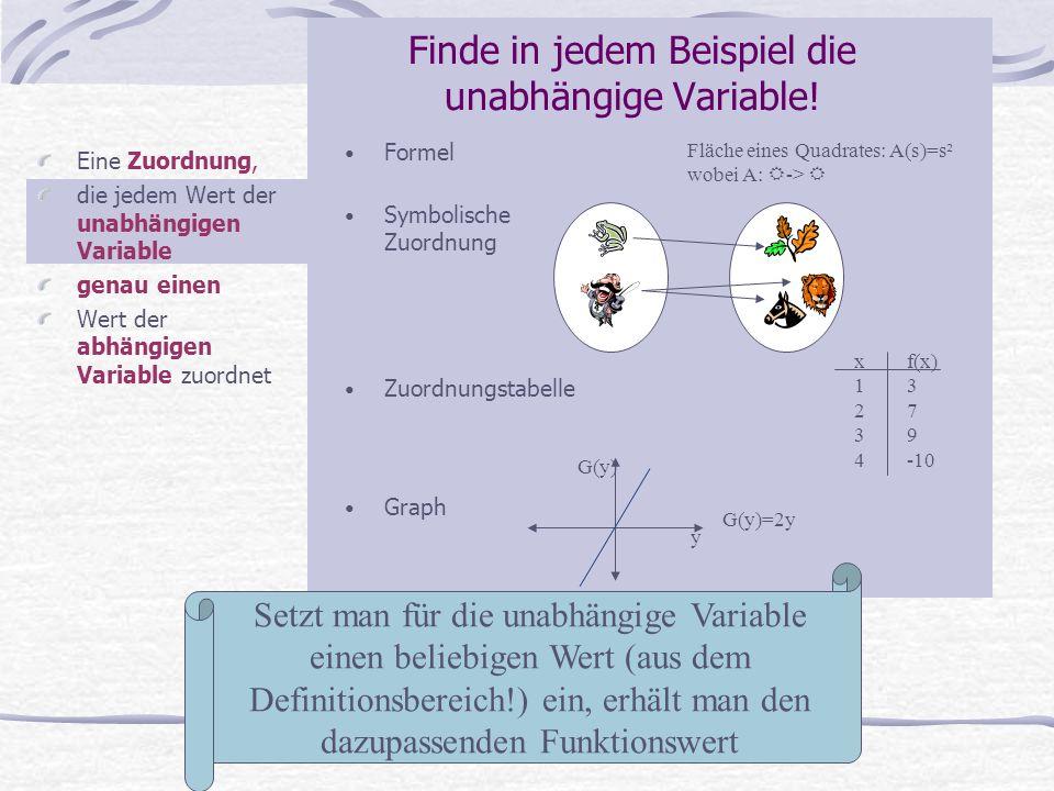 Eine Zuordnung, die jedem Wert der unabhängigen Variable genau einen Wert der abhängigen Variable zuordnet Fläche eines Quadrates: A(s)=s² wobei A: ->