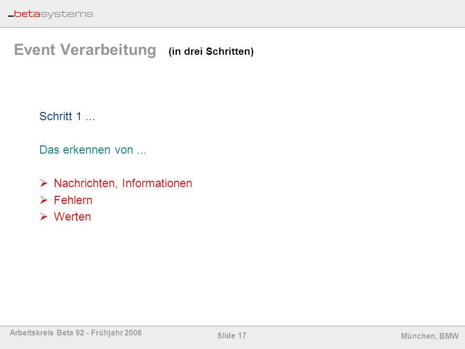 Slide 17 Arbeitskreis Beta 92 - Frühjahr 2008 München, BMW Event Verarbeitung (in drei Schritten) Schritt 1... Das erkennen von... Nachrichten, Inform