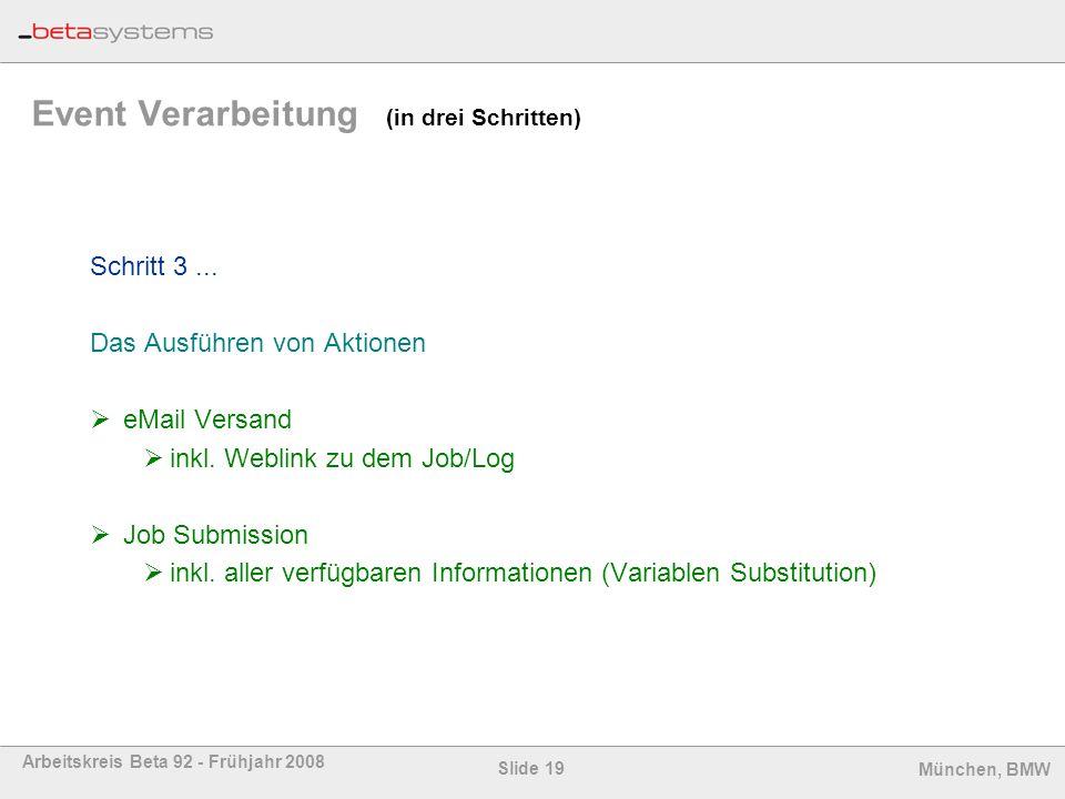 Slide 19 Arbeitskreis Beta 92 - Frühjahr 2008 München, BMW Event Verarbeitung (in drei Schritten) Schritt 3... Das Ausführen von Aktionen eMail Versan