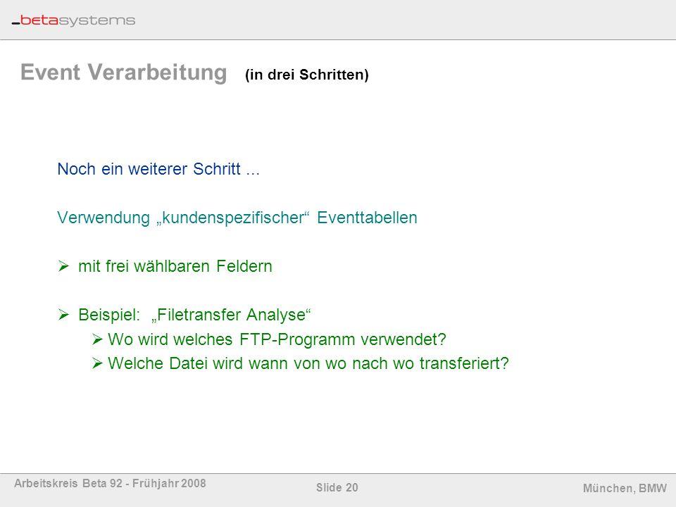 Slide 20 Arbeitskreis Beta 92 - Frühjahr 2008 München, BMW Event Verarbeitung (in drei Schritten) Noch ein weiterer Schritt... Verwendung kundenspezif