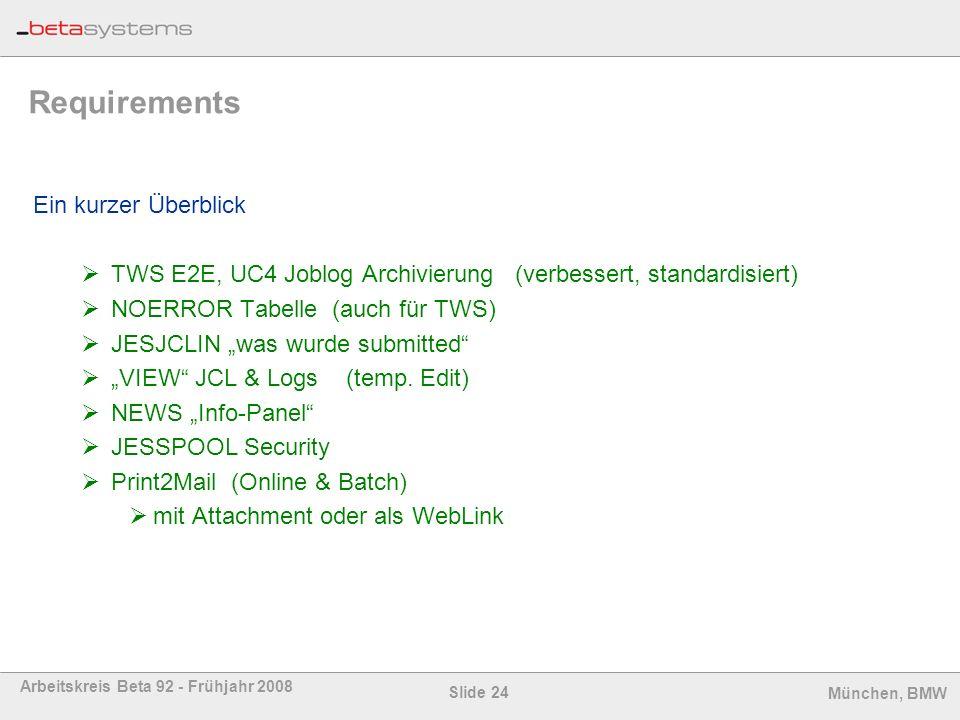 Slide 24 Arbeitskreis Beta 92 - Frühjahr 2008 München, BMW Requirements Ein kurzer Überblick TWS E2E, UC4 Joblog Archivierung (verbessert, standardisi