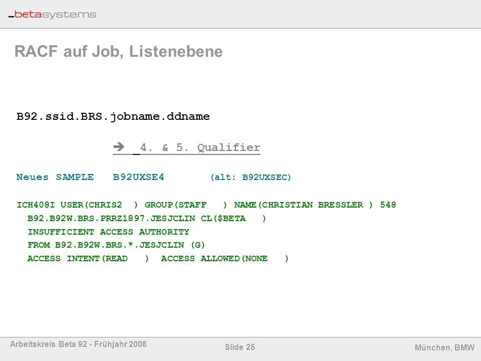 Slide 25 Arbeitskreis Beta 92 - Frühjahr 2008 München, BMW RACF auf Job, Listenebene B92.ssid.BRS.jobname.ddname 4. & 5. Qualifier Neues SAMPLE B92UXS