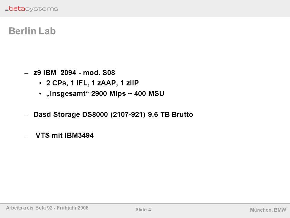 Slide 4 Arbeitskreis Beta 92 - Frühjahr 2008 München, BMW Berlin Lab –z9 IBM 2094 - mod. S08 2 CPs, 1 IFL, 1 zAAP, 1 zIIP insgesamt 2900 Mips ~ 400 MS