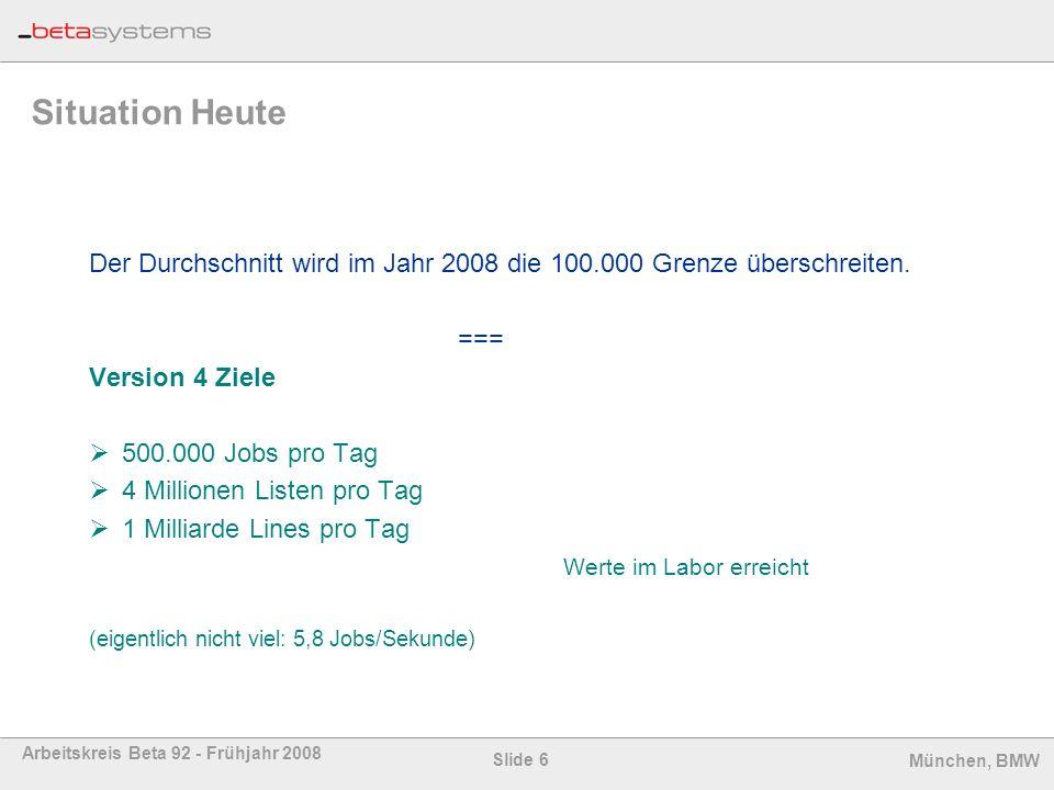 Slide 6 Arbeitskreis Beta 92 - Frühjahr 2008 München, BMW Situation Heute Der Durchschnitt wird im Jahr 2008 die 100.000 Grenze überschreiten. === Ver