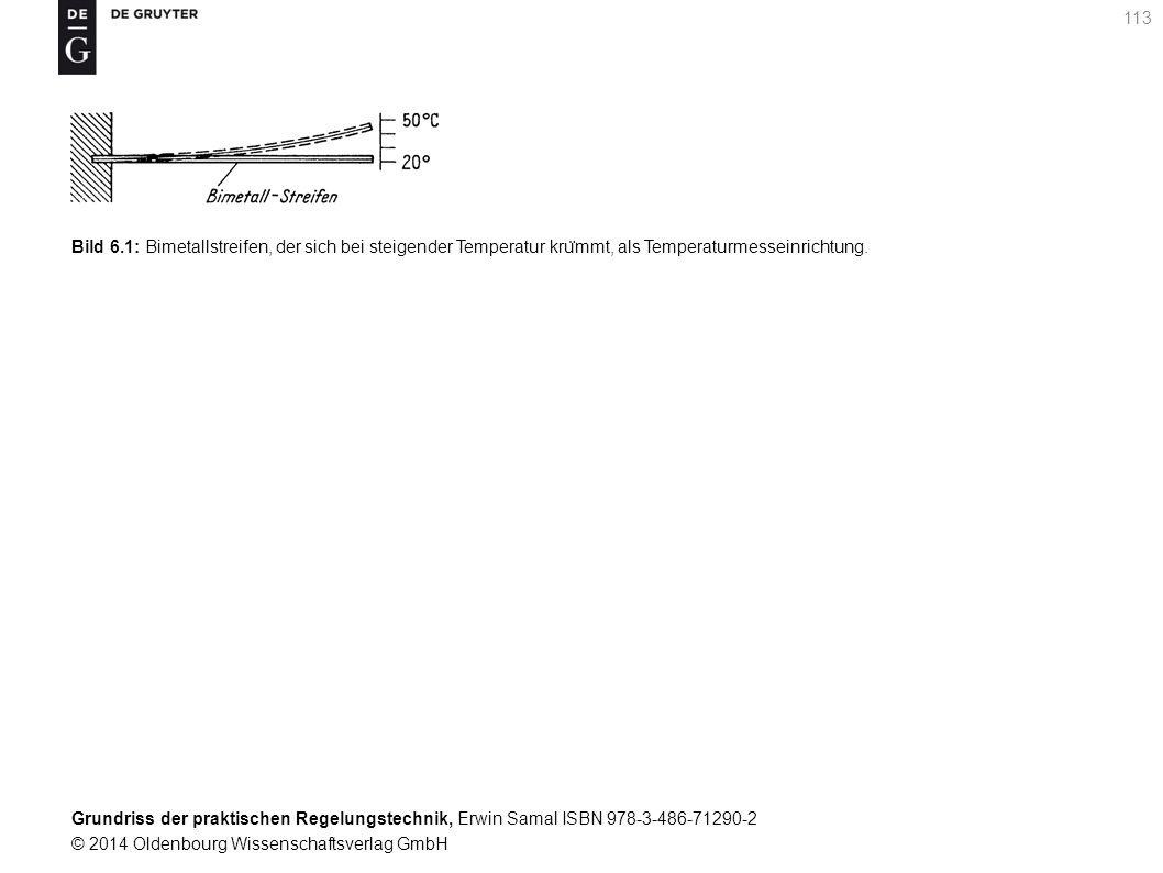 Grundriss der praktischen Regelungstechnik, Erwin Samal ISBN 978-3-486-71290-2 © 2014 Oldenbourg Wissenschaftsverlag GmbH 113 Bild 6.1: Bimetallstreif