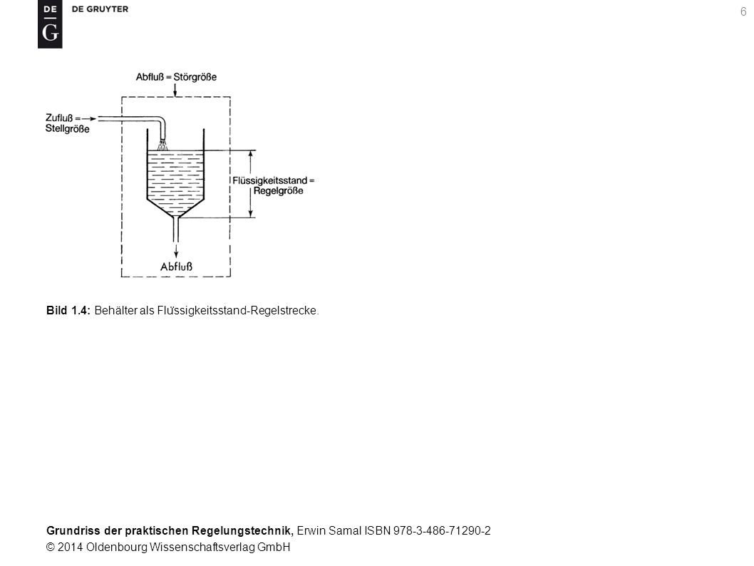 Grundriss der praktischen Regelungstechnik, Erwin Samal ISBN 978-3-486-71290-2 © 2014 Oldenbourg Wissenschaftsverlag GmbH 6 Bild 1.4: Behälter als Flu