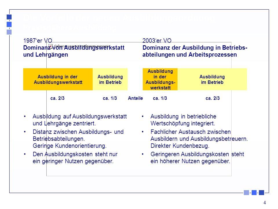 4 Die Vorteile der neuen Ausbildungsordnung Praxisnähere Ausbildung 2003er VO Dominanz der Ausbildung in Betriebs- abteilungen und Arbeitsprozessen 1987er VO Dominanz von Ausbildungswerkstatt und Lehrgängen Ausbildung in der Ausbildungswerkstatt Ausbildung im Betrieb Ausbildung in der Ausbildungs- werkstatt Ausbildung im Betrieb Anteileca.