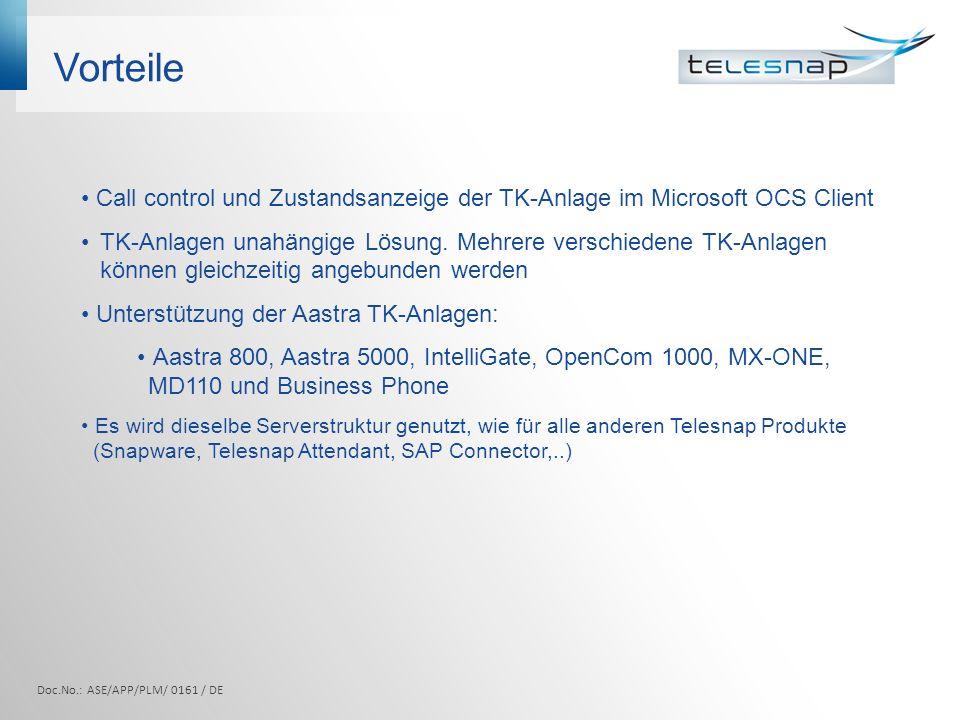 Vorteile Call control und Zustandsanzeige der TK-Anlage im Microsoft OCS Client TK-Anlagen unahängige Lösung.