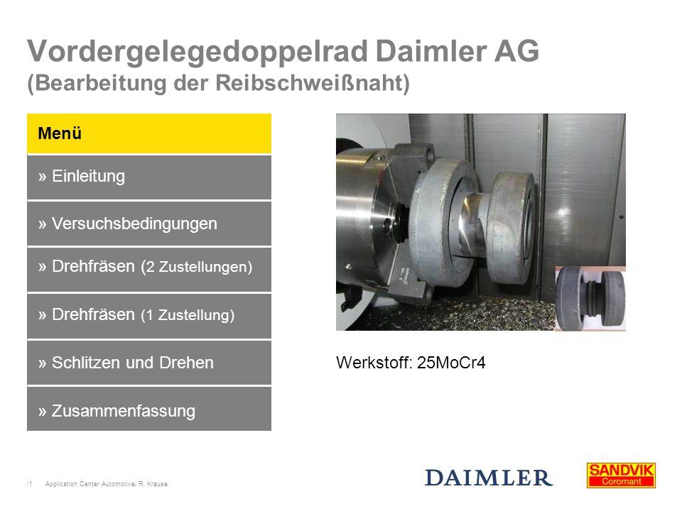 /1 Application Center Automotive/ R. Krause Vordergelegedoppelrad Daimler AG (Bearbeitung der Reibschweißnaht) Menü » Einleitung » Schlitzen und Drehe