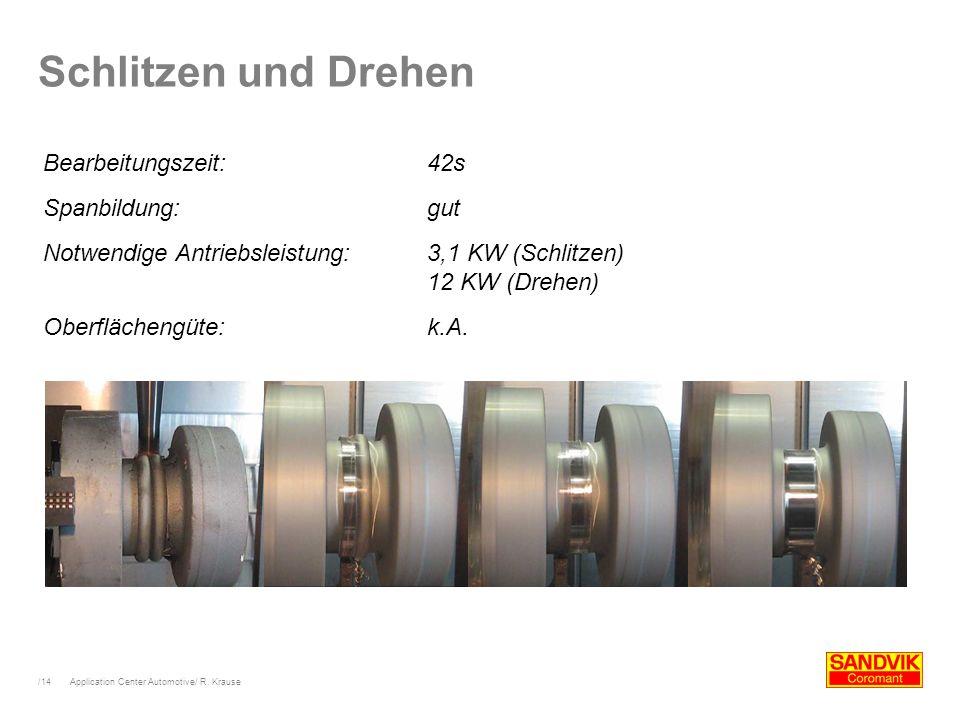 /14 Application Center Automotive/ R. Krause Schlitzen und Drehen Bearbeitungszeit:42s Spanbildung:gut Notwendige Antriebsleistung:3,1 KW (Schlitzen)
