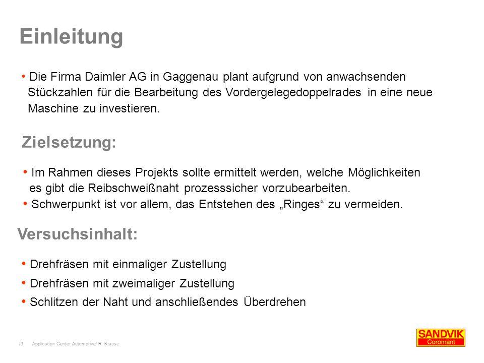 /4 Einleitung (Ausgangssituation) Drehhalter:N176.39-2525-12 Wendeplatte: RCMT-10T3M0-PM 4225 Schnitttiefe a p : 3 mm Schnittgeschw.: 300 m/min Zahnvorschub (radial).: 0,15 mm Zahnvorschub (axial).: 0,3 mm Gap between welding zone and workpiece
