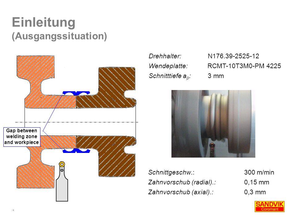 /4 Einleitung (Ausgangssituation) Drehhalter:N176.39-2525-12 Wendeplatte: RCMT-10T3M0-PM 4225 Schnitttiefe a p : 3 mm Schnittgeschw.: 300 m/min Zahnvo