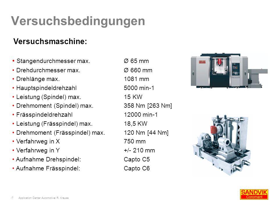 /7 Application Center Automotive/ R. Krause Versuchsbedingungen Versuchsmaschine: Stangendurchmesser max.Ø 65 mm Drehdurchmesser max. Ø 660 mm Drehlän