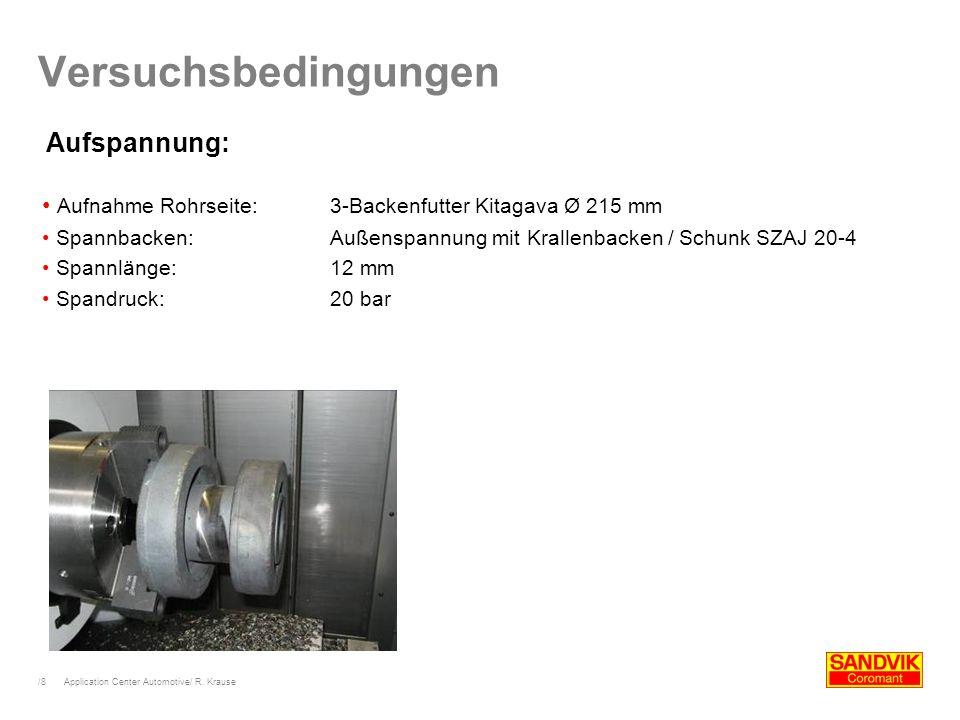 /8 Application Center Automotive/ R. Krause Versuchsbedingungen Aufnahme Rohrseite:3-Backenfutter Kitagava Ø 215 mm Spannbacken:Außenspannung mit Kral