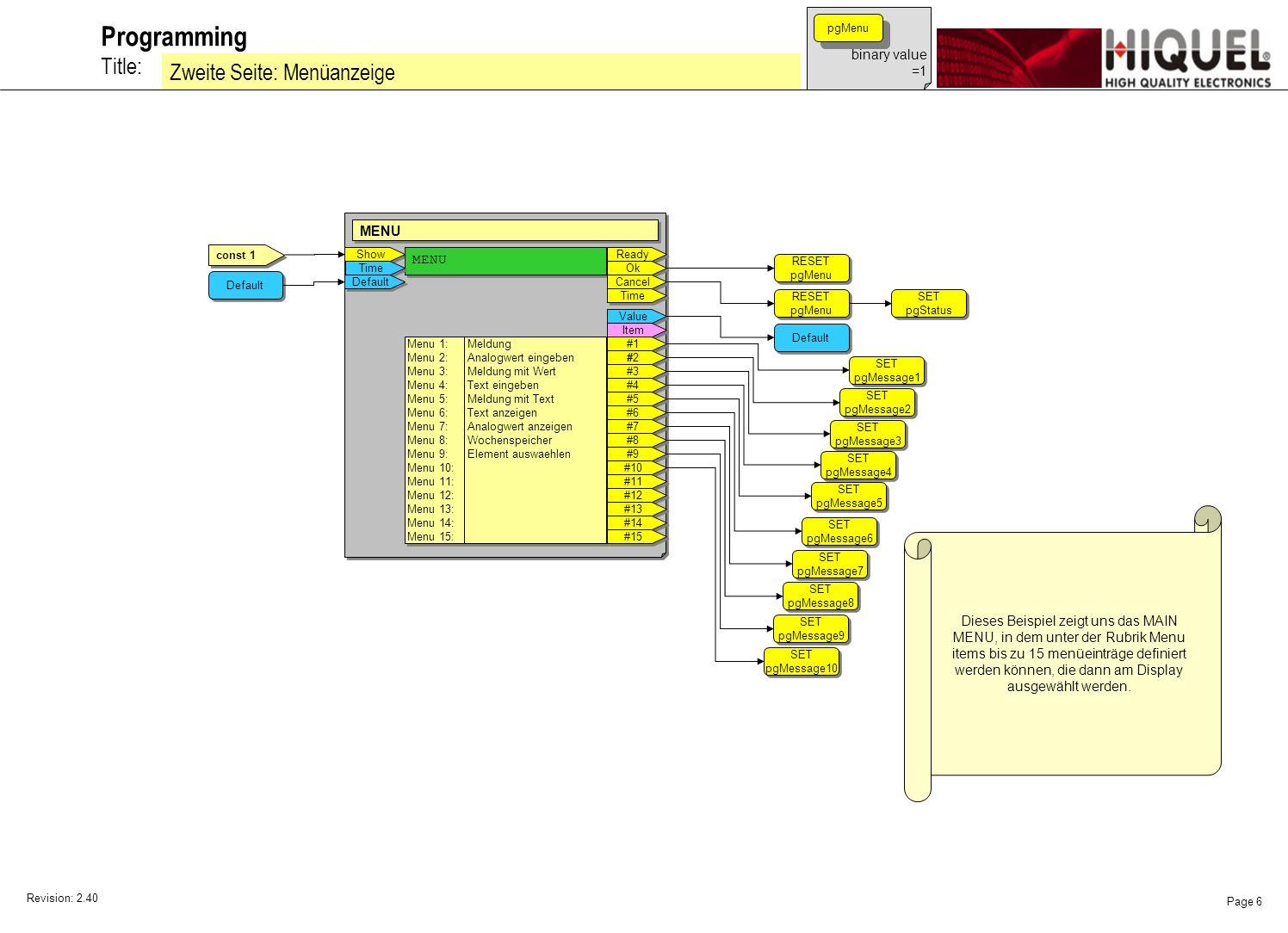 Revision: 2.40 Page 7 Title: Programming Dritte Seite: Meldung anzeigen binary value =1 pgMessage1 Show SHOW MESSAGE Das ist die zweite Terminal Meldung!!!.