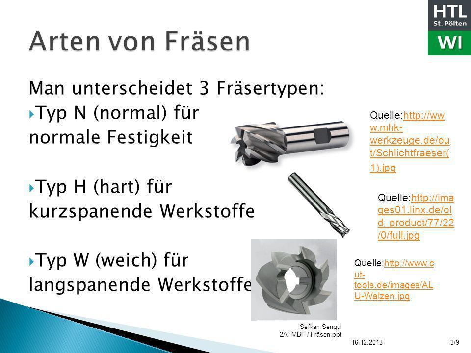 Man unterscheidet 3 Fräsertypen: Typ N (normal) für normale Festigkeit Typ H (hart) für kurzspanende Werkstoffe Typ W (weich) für langspanende Werksto