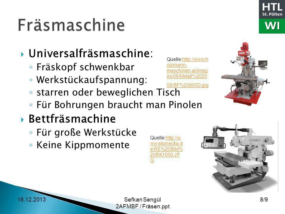 Universalfräsmaschine: Fräskopf schwenkbar Werkstückaufspannung: starren oder beweglichen Tisch Für Bohrungen braucht man Pinolen Bettfräsmachine Für