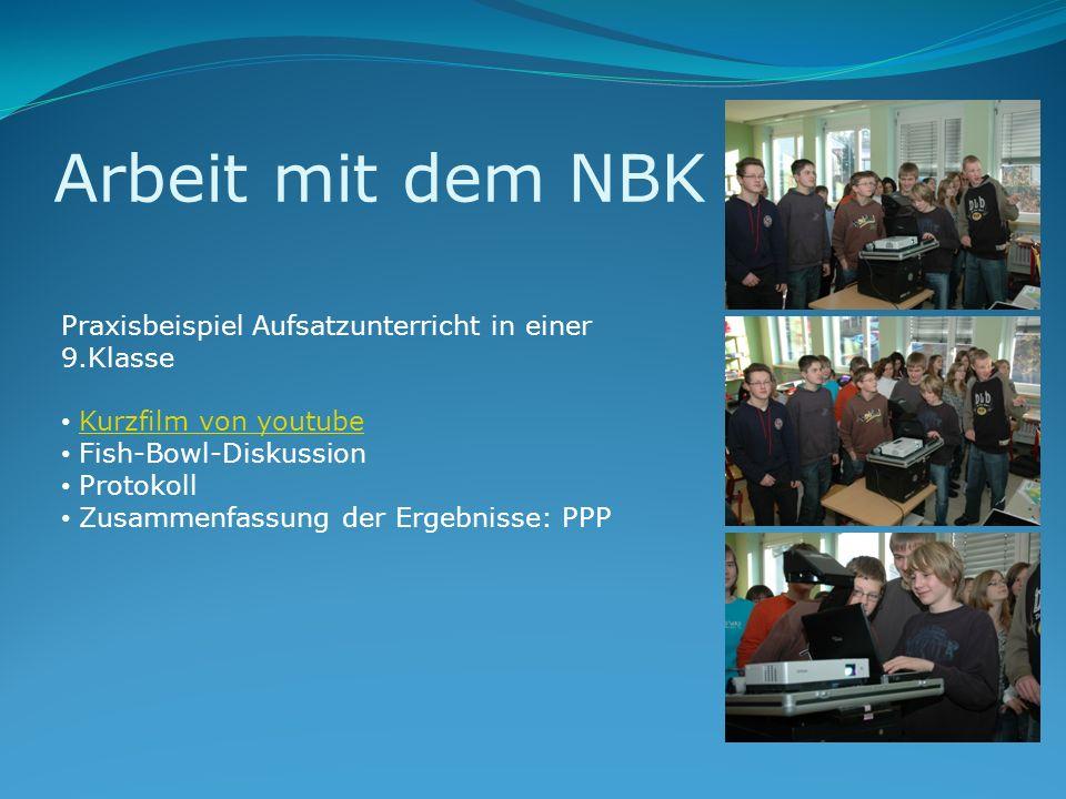 Arbeit mit dem NBK Praxisbeispiel Aufsatzunterricht in einer 9.Klasse Kurzfilm von youtube Fish-Bowl-Diskussion Protokoll Zusammenfassung der Ergebnis