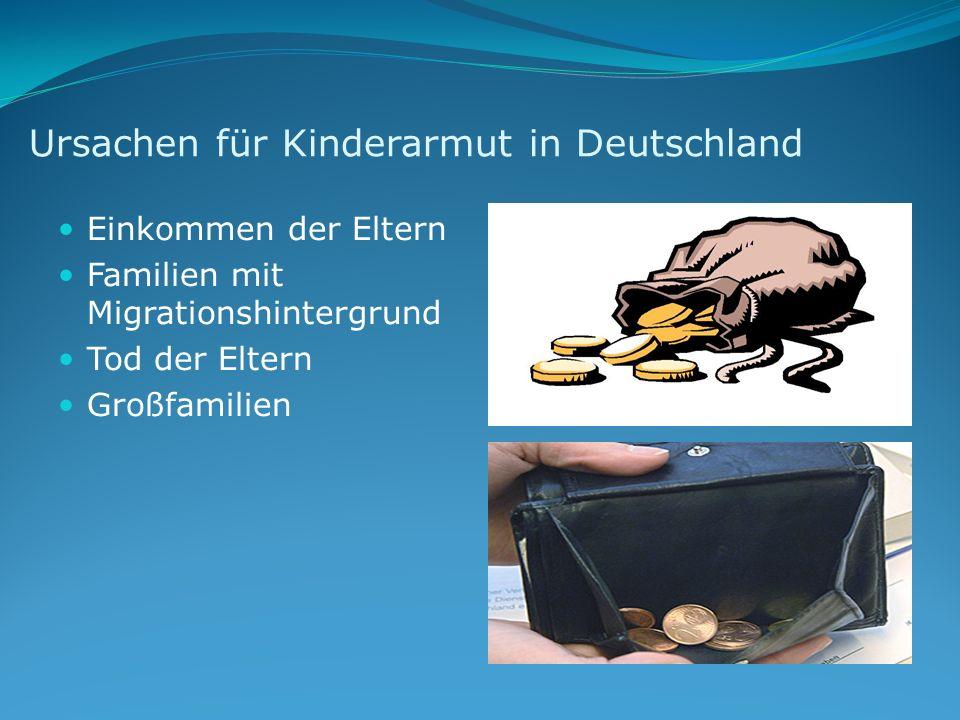 Ursachen für Kinderarmut in Deutschland Einkommen der Eltern Familien mit Migrationshintergrund Tod der Eltern Großfamilien
