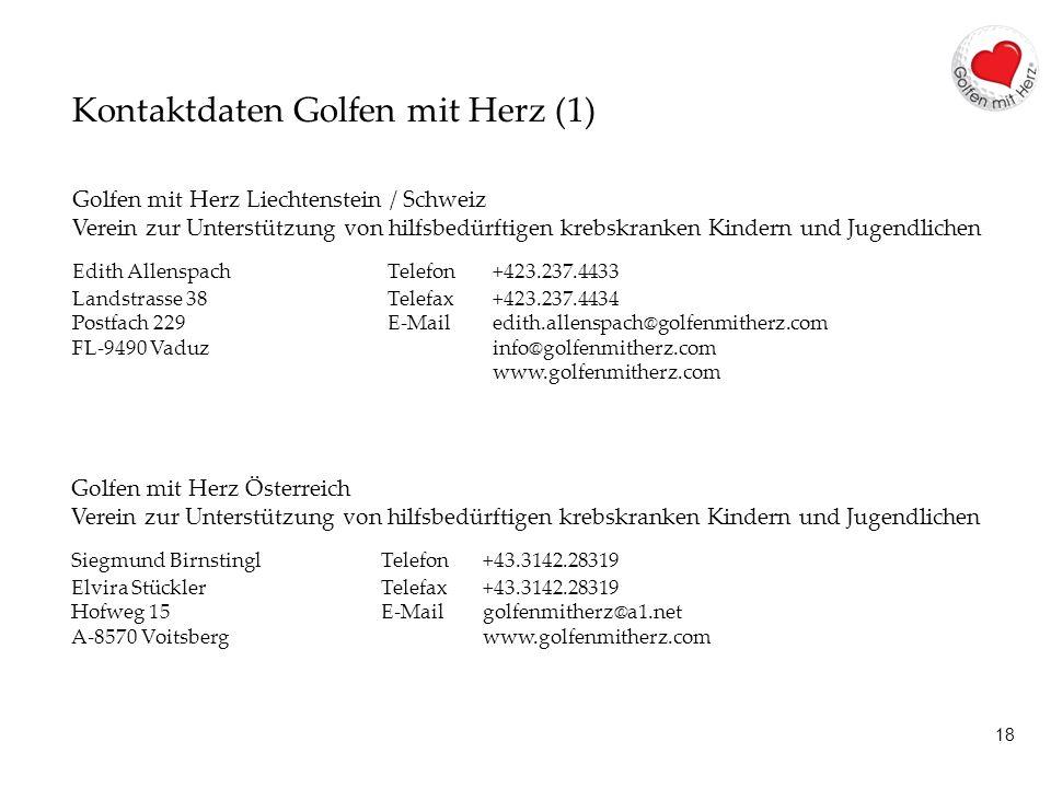 18 Kontaktdaten Golfen mit Herz (1) Golfen mit Herz Liechtenstein / Schweiz Verein zur Unterstützung von hilfsbedürftigen krebskranken Kindern und Jugendlichen Edith AllenspachTelefon +423.237.4433 Landstrasse 38Telefax +423.237.4434 Postfach 229 E-Mail edith.allenspach@golfenmitherz.com FL-9490 Vaduz info@golfenmitherz.com www.golfenmitherz.com Golfen mit Herz Österreich Verein zur Unterstützung von hilfsbedürftigen krebskranken Kindern und Jugendlichen Siegmund BirnstinglTelefon +43.3142.28319 Elvira StücklerTelefax +43.3142.28319 Hofweg 15 E-Mail golfenmitherz@a1.net A-8570 Voitsberg www.golfenmitherz.com