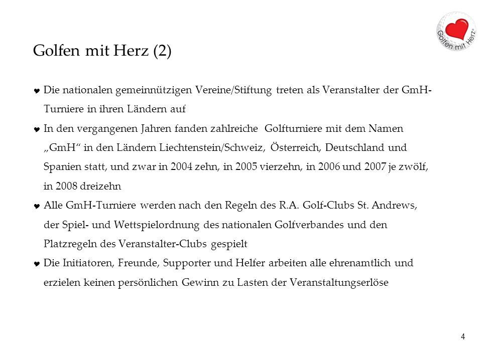 4 Golfen mit Herz (2) Die nationalen gemeinnützigen Vereine/Stiftung treten als Veranstalter der GmH- Turniere in ihren Ländern auf In den vergangenen Jahren fanden zahlreiche Golfturniere mit dem Namen GmH in den Ländern Liechtenstein/Schweiz, Österreich, Deutschland und Spanien statt, und zwar in 2004 zehn, in 2005 vierzehn, in 2006 und 2007 je zwölf, in 2008 dreizehn Alle GmH-Turniere werden nach den Regeln des R.A.