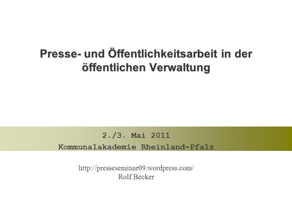 Presse- und Öffentlichkeitsarbeit in der öffentlichen Verwaltung 2./3.
