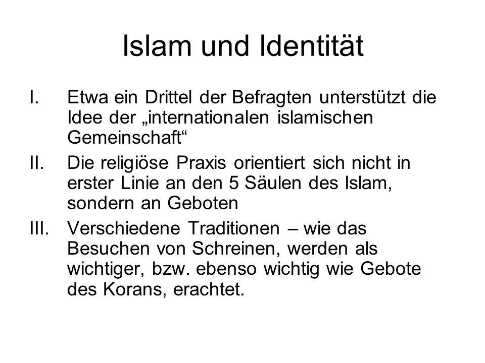 Islam und Identität I.Etwa ein Drittel der Befragten unterstützt die Idee der internationalen islamischen Gemeinschaft II.Die religiöse Praxis orientiert sich nicht in erster Linie an den 5 Säulen des Islam, sondern an Geboten III.Verschiedene Traditionen – wie das Besuchen von Schreinen, werden als wichtiger, bzw.