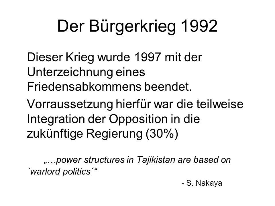 Der Bürgerkrieg 1992 Dieser Krieg wurde 1997 mit der Unterzeichnung eines Friedensabkommens beendet. Vorraussetzung hierfür war die teilweise Integrat