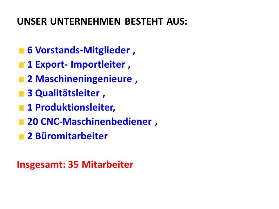 UNSER UNTERNEHMEN BESTEHT AUS: 6 Vorstands-Mitglieder, 1 Export- Importleiter, 2 Maschineningenieure, 3 Qualitätsleiter, 1 Produktionsleiter, 20 CNC-M