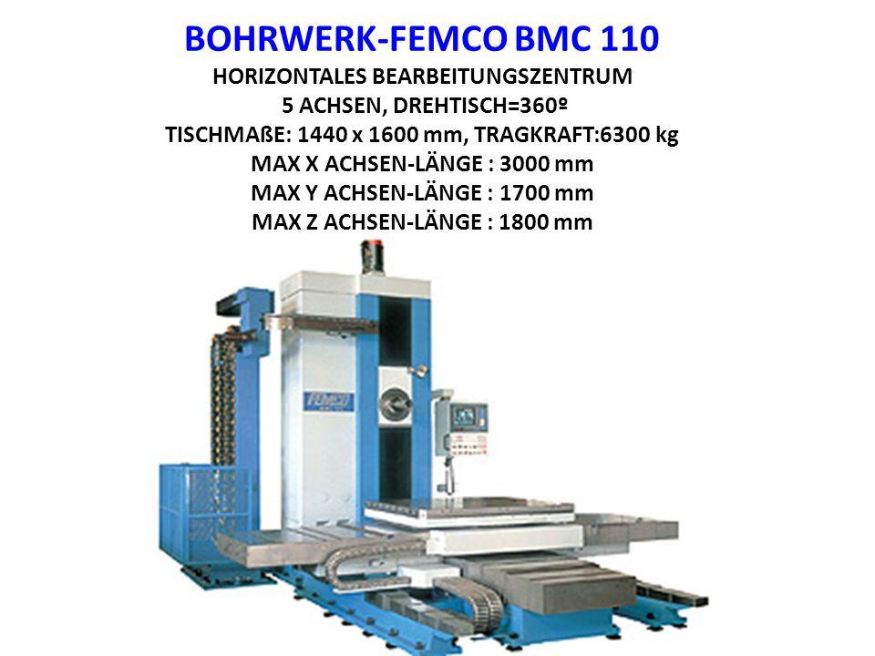 BOHRWERK-FEMCO BMC 110 HORIZONTALES BEARBEITUNGSZENTRUM 5 ACHSEN, DREHTISCH=360º TISCHMAßE: 1440 x 1600 mm, TRAGKRAFT:6300 kg MAX X ACHSEN-LÄNGE : 300