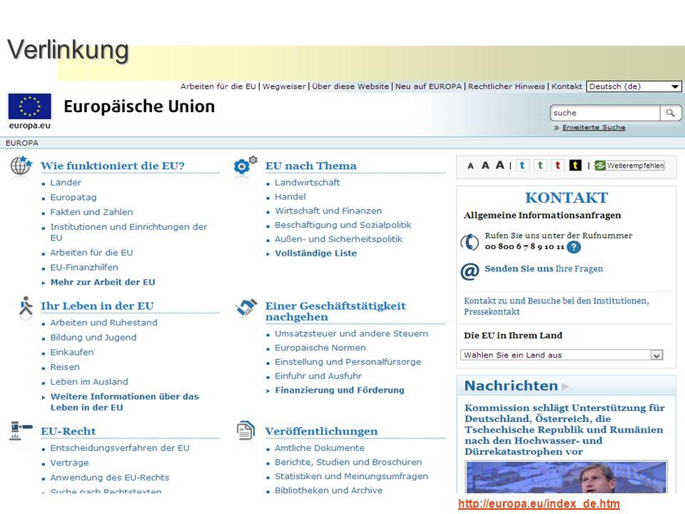 25Verlinkung http://europa.eu/index_de.htm