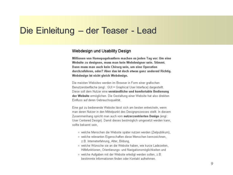 9 Die Einleitung – der Teaser - Lead