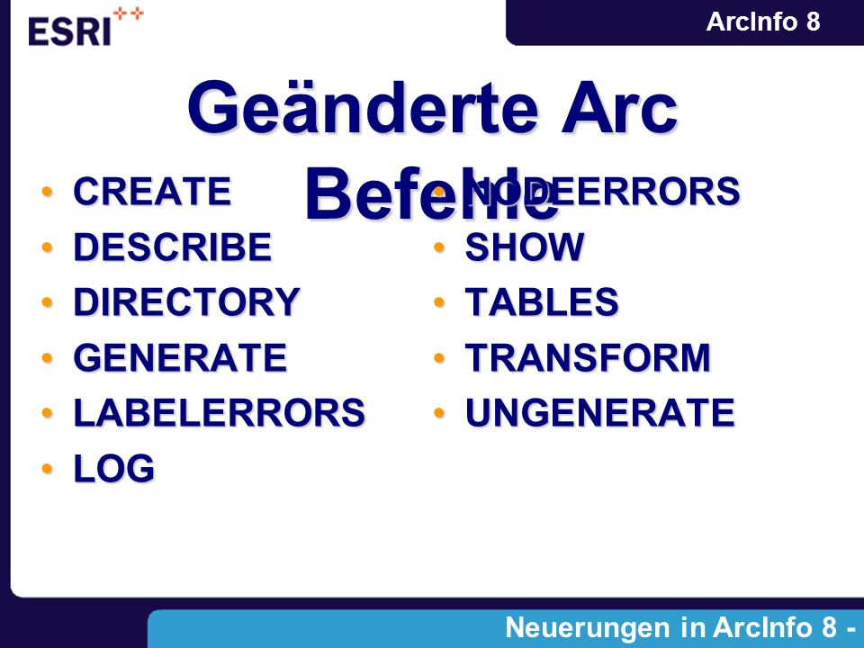 ArcInfo 8 Geänderte Arc Befehle CREATECREATE DESCRIBEDESCRIBE DIRECTORYDIRECTORY GENERATEGENERATE LABELERRORSLABELERRORS LOGLOG NODEERRORSNODEERRORS SHOWSHOW TABLESTABLES TRANSFORMTRANSFORM UNGENERATEUNGENERATE Neuerungen in ArcInfo 8 - Modulen