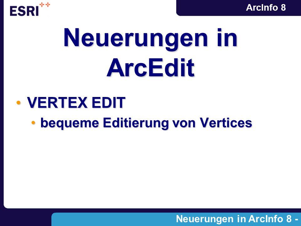 ArcInfo 8 Neuerungen in ArcEdit VERTEX EDITVERTEX EDIT bequeme Editierung von Verticesbequeme Editierung von Vertices Neuerungen in ArcInfo 8 - Module