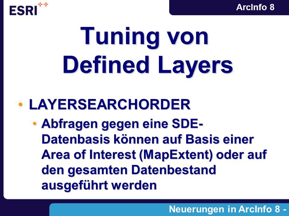 ArcInfo 8 Tuning von Defined Layers LAYERSEARCHORDERLAYERSEARCHORDER Abfragen gegen eine SDE- Datenbasis können auf Basis einer Area of Interest (MapE