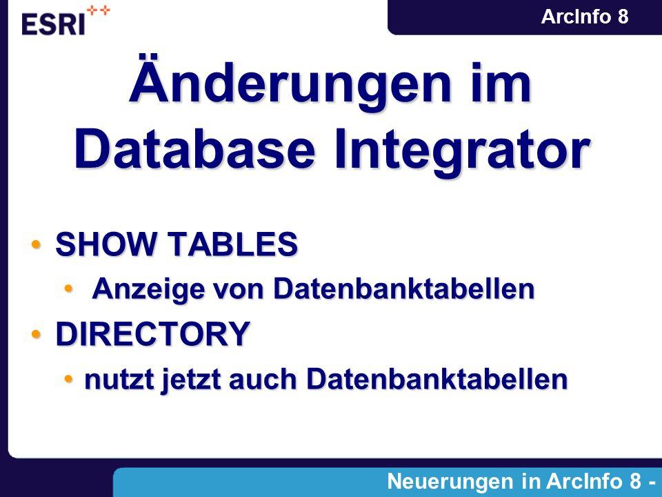 ArcInfo 8 Änderungen im Database Integrator SHOW TABLESSHOW TABLES Anzeige von Datenbanktabellen Anzeige von Datenbanktabellen DIRECTORYDIRECTORY nutz