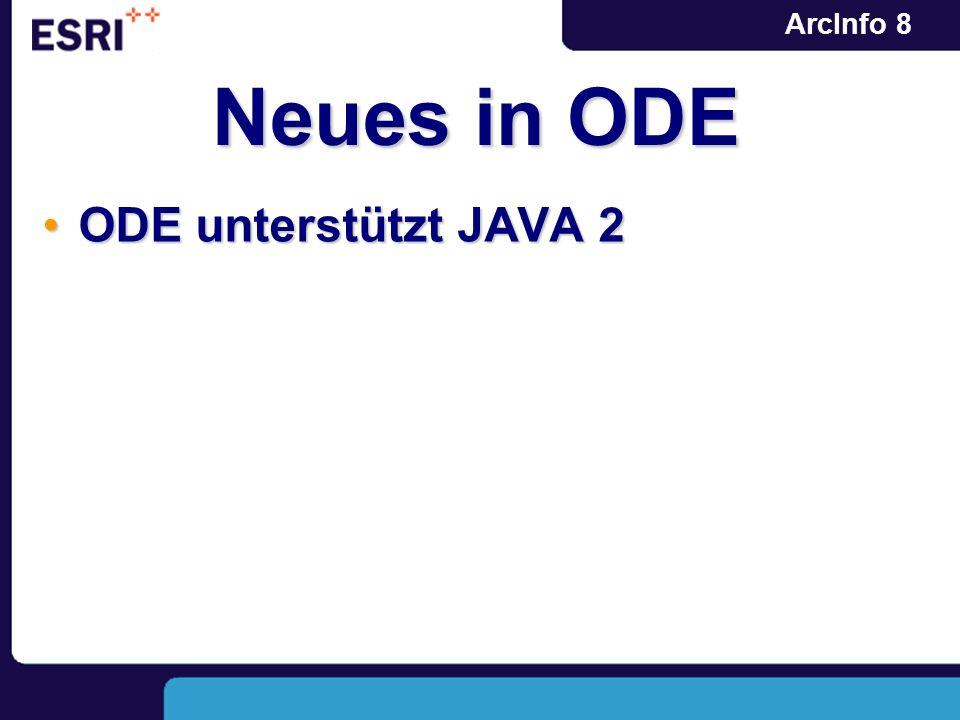 ArcInfo 8 Neues in ODE ODE unterstützt JAVA 2ODE unterstützt JAVA 2