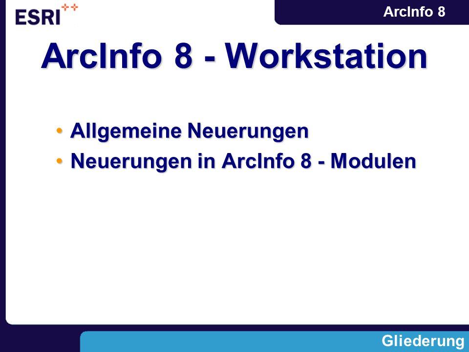 ArcInfo 8 Allgemeine NeuerungenAllgemeine Neuerungen Neuerungen in ArcInfo 8 - ModulenNeuerungen in ArcInfo 8 - Modulen Gliederung ArcInfo 8 - Worksta